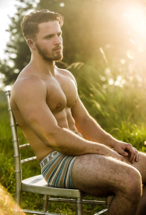 sexy man in chair in field