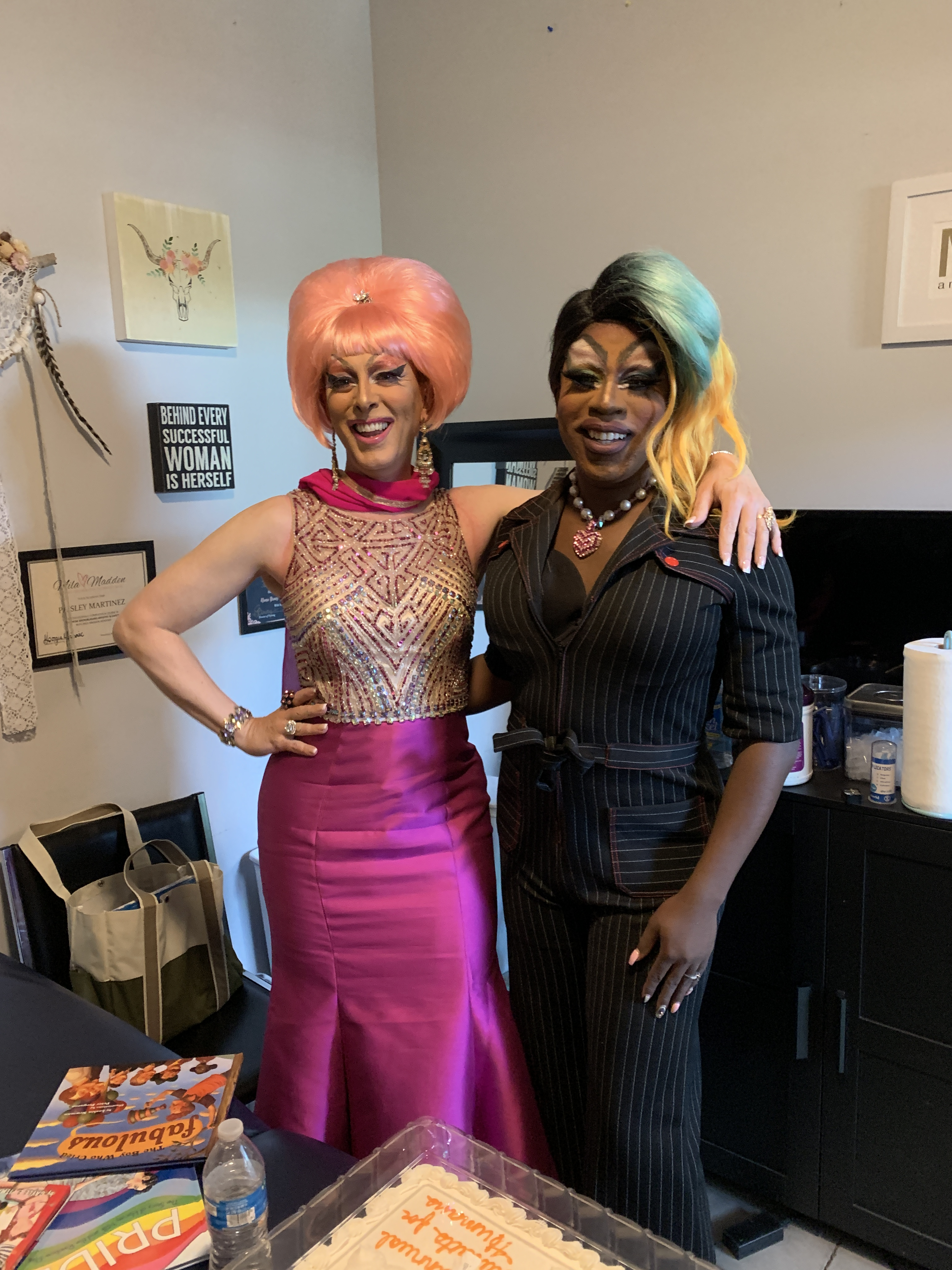 "Lady Sandy and Felicia ""Fefe"" Minor at Drag Story Hour at Public Image in Phoenix during the Haircuts for Humans event."